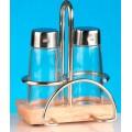 Набор для специй (соль, перец) + салфетница на деревянной подставке