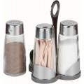 Набор для специй (соль, перец, зубочистки) на пластиковой подставке